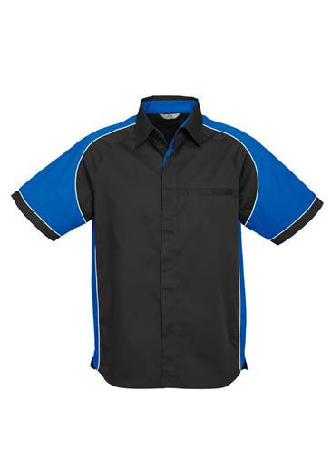 Biz Collection-Biz Collection Mens Nitro Shirt-Black / Royal / White / S-Corporate Apparel Online - 5