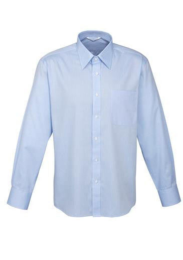 Biz Collection-Biz Collection Mens Luxe Long Sleeve Shirt-Blue / Small-Corporate Apparel Online - 2