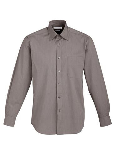 Biz Collection-Biz Collection Mens Chevron Long Sleeve Shirt-Graphite / S-Corporate Apparel Online - 5