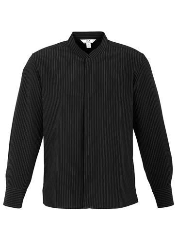 Biz Collection-Biz Collection Mens Quay Long Sleeve Shirt-Black / White / S-Corporate Apparel Online - 4