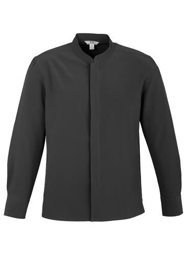 Biz Collection-Biz Collection Mens Quay Long Sleeve Shirt-Charcoal / Black / S-Corporate Apparel Online - 1
