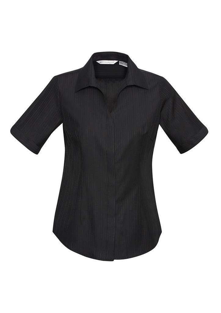 Biz Collection-Biz Collection Preston Ladies Short Sleeve Shirt-Black / 6-Corporate Apparel Online - 2