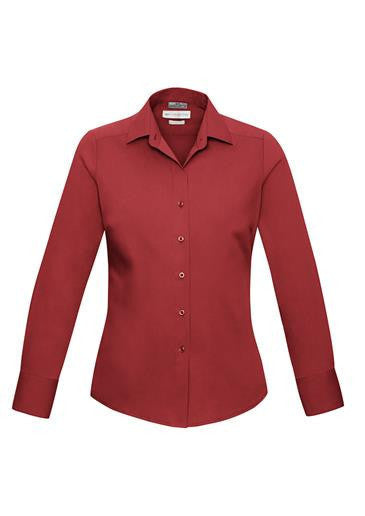 Biz Collection-Biz Collection Verve Ladies Long Sleeve Shirt-Deep Red / 6-Corporate Apparel Online - 5