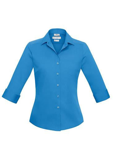 Biz Collection-Biz Collection Verve Ladies 3/4 Sleeve Shirt-Cyan / 6-Corporate Apparel Online - 4
