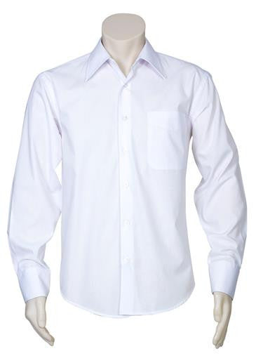 Biz Collection-Biz Collection Mens Metro Long Sleeve Shirt-White / S-Corporate Apparel Online - 2