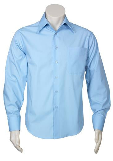 Biz Collection-Biz Collection Mens Metro Long Sleeve Shirt-Sky / S-Corporate Apparel Online - 5