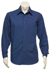 Biz Collection-Biz Collection Mens Micro Check Long Sleeve Shirt-Navy / S-Corporate Apparel Online - 1