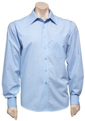 Biz Collection-Biz Collection Mens Micro Check Long Sleeve Shirt-Sky / S-Corporate Apparel Online - 4