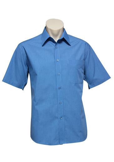 Biz Collection-Biz Collection Mens Micro Check Shirt -S/S-Mid Blue / S-Corporate Apparel Online - 2