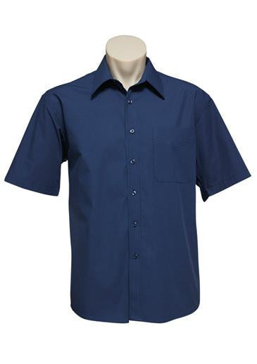 Biz Collection-Biz Collection Mens Micro Check Shirt -S/S-Navy / S-Corporate Apparel Online - 1