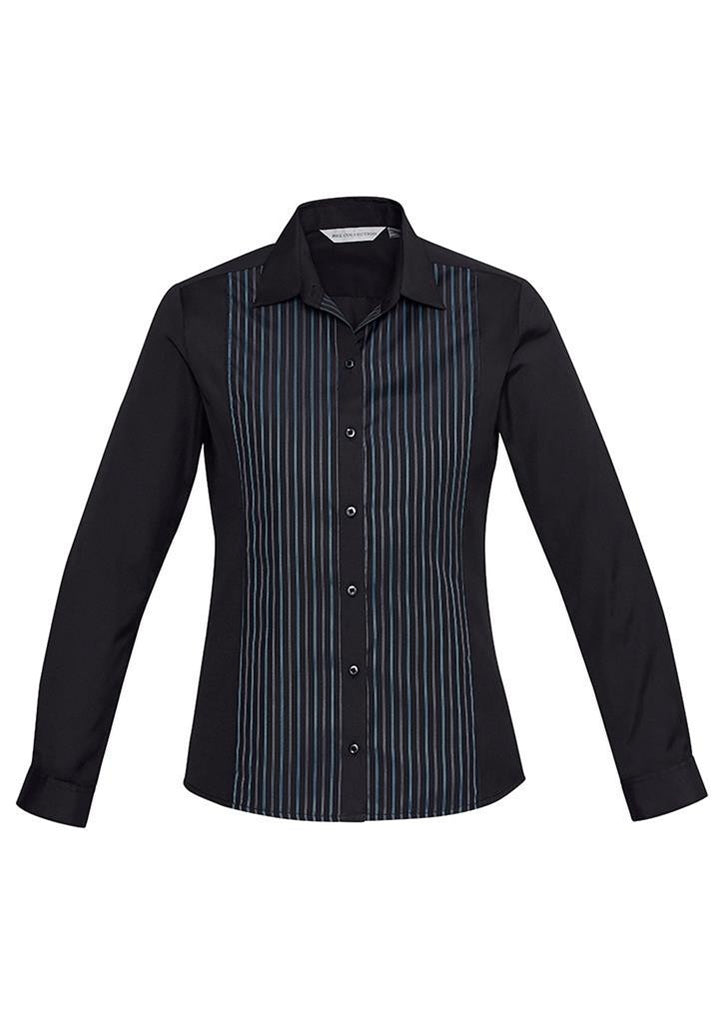 Biz Collection-Biz Collection Ladies Reno Panel L/S Shirt-Black/Teal Blue / 6-Corporate Apparel Online - 2