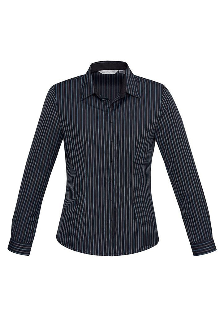 Biz Collection-Biz Collection Ladies Reno Stripe L/S Shirt-Teal Blue / 6-Corporate Apparel Online - 2