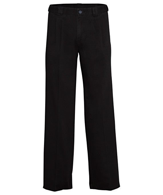 Bracks-Bracks Cotton 2 Pleat Pant With Ezi Fit Waist Band-Black / 82R-Corporate Apparel Online - 1