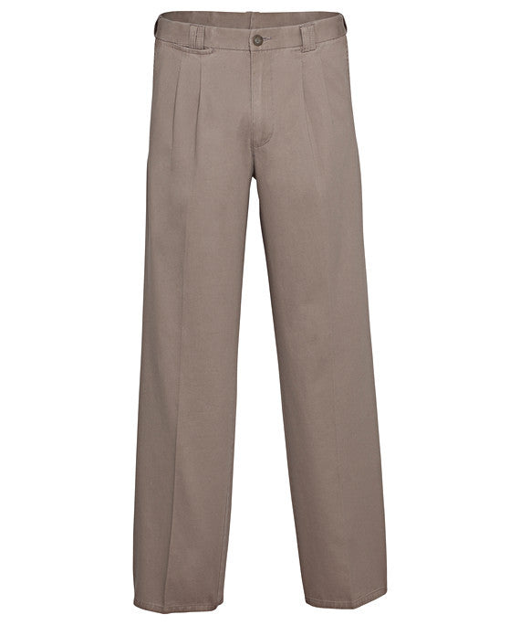 Bracks-Bracks Cotton 2 Pleat Pant With Ezi Fit Waist Band-Donkey / 82R-Corporate Apparel Online - 3