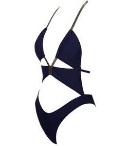 Larissa One Piece Swimsuit (Navy and Gold)