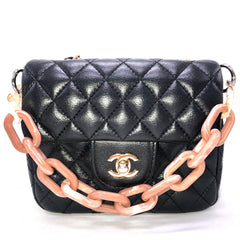 Chanel Mini Flap Bag with the CLICKCHAIN handbag chain top handle in marble pink