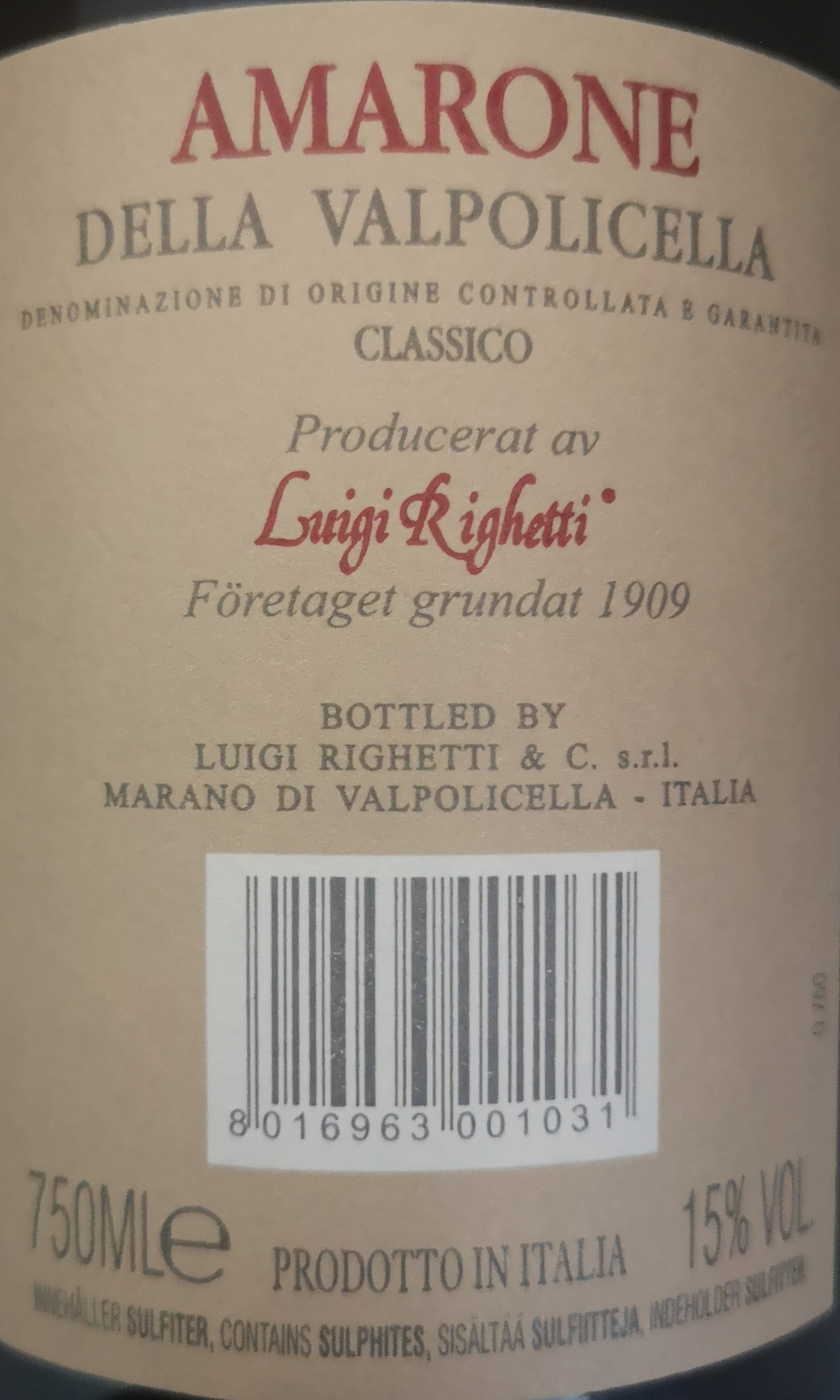 AMARONE VILLA RIGHETTI, Karton a 12 Flaschen