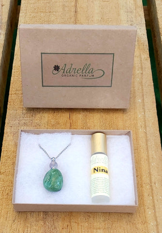 Gemstone necklace with Adrella's perfume oil