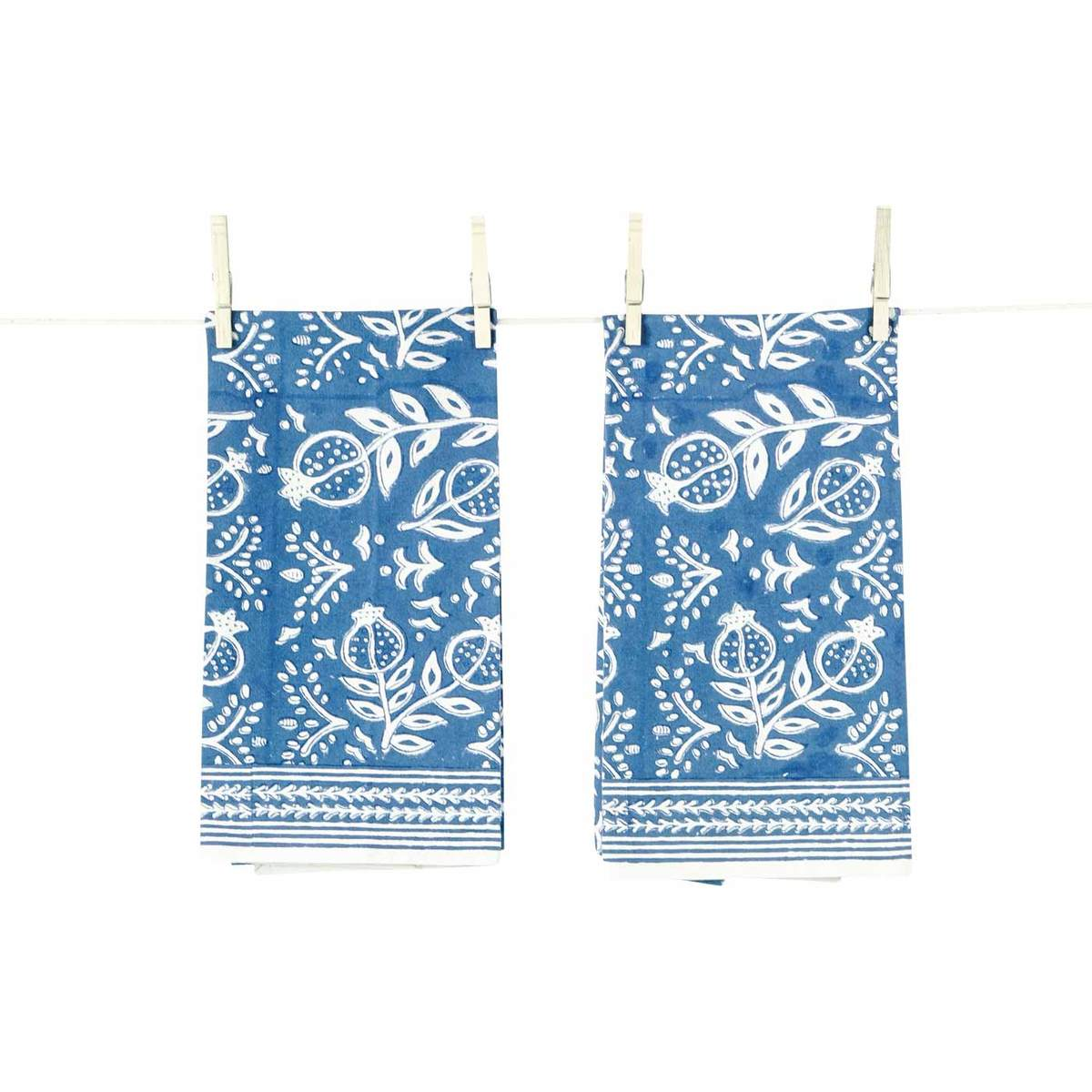 Pomegranate Blue Tea Towel