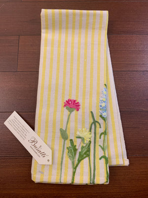 Striped Embroidered Tea Towel