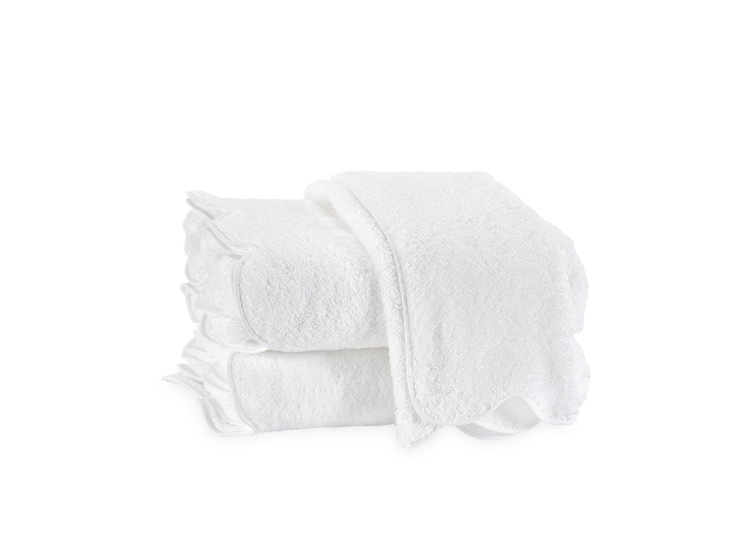 Matouk Cairo Scallop Towel Collection, White/White