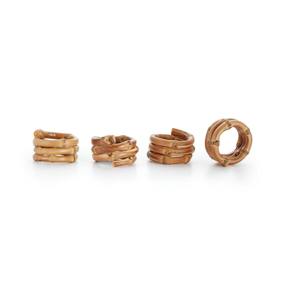 Wrapped Bamboo Napkin Rings, Set of 4
