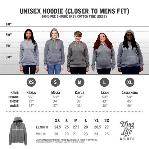 Grey Hooded Sweat Shirt Size Chart