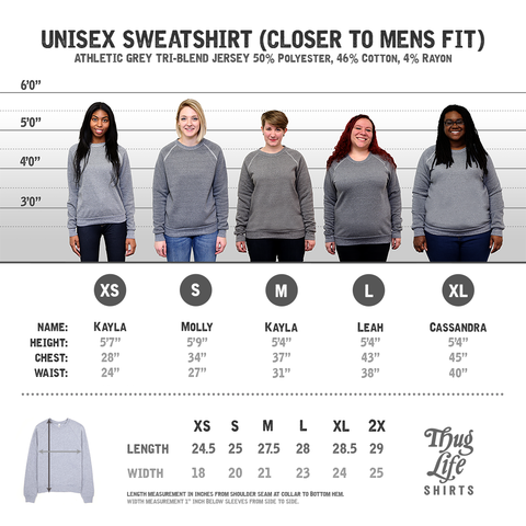 Grey Crew Neck Sweatshirt Size Chart