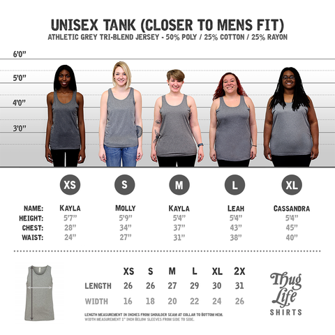 Athletic Grey Unisex Tank Top Size Chart