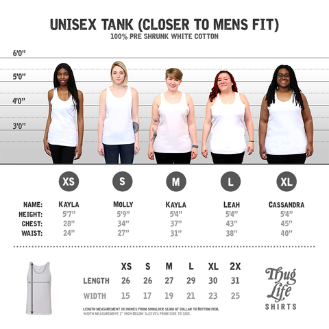 White Unisex Tank Top Size Chart
