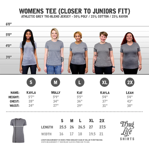 womens athletic grey t shirt size chart