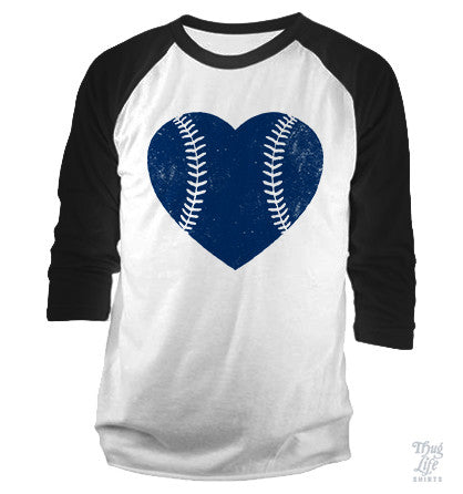 Baseball Heart Navy Baseball Shirt