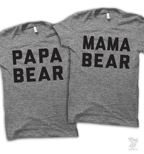 Mama And Papa Bear Couples Shirt