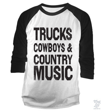 Trucks Cowboys Country Music Baseball Shirt