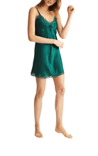 Load image into Gallery viewer, Ginia pure silk pintucks chemise in emerald green