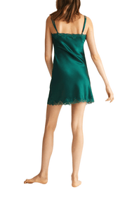 Ginia pure silk short chemise in emerald green