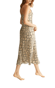 Ginia long nightgown in python print, pure silk