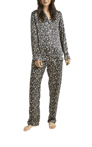 Ginia Long Sleeve Silk Pyjama In Leopard Print