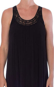 Yuu Black Sleeveless Lace Nightdress