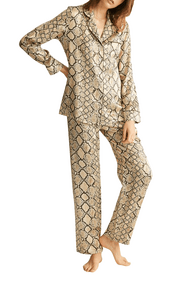 Ginia python print silk long sleeve pyjama, 100% pure silk