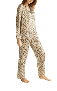 Ginia pure silk pyjama in python print, 100% pure silk
