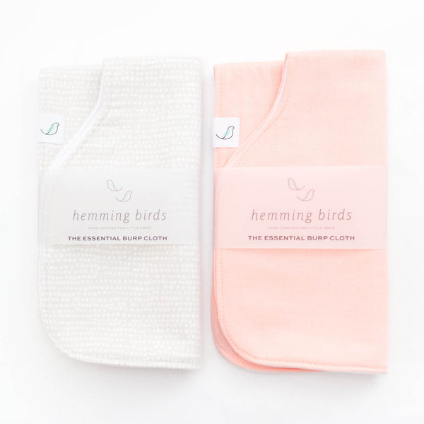 Essential Burp Cloth TWO-PACK // Peach + Grey Dot