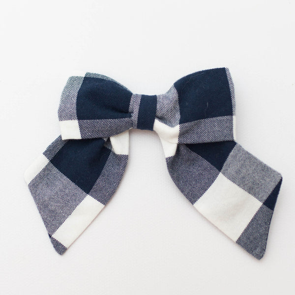 *NEW* Classic Bow | Navy Gingham