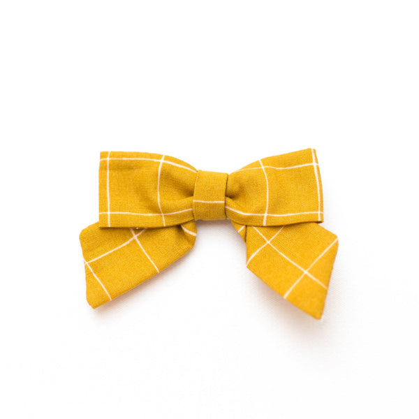 Petite Bow | Mustard Check