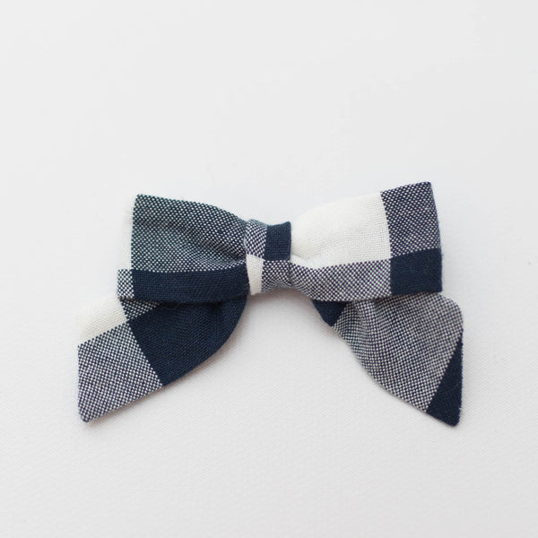 *NEW* Petite Bow | Navy Gingham