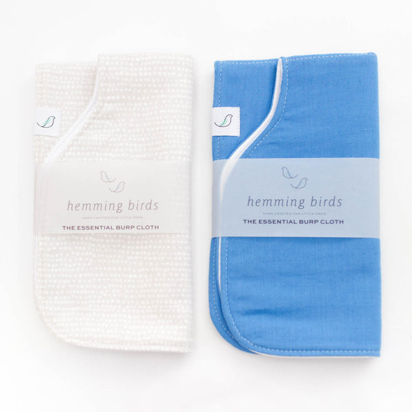 *NEW* Essential Burp Cloth TWO-PACK // Sky Blue + Grey Dot