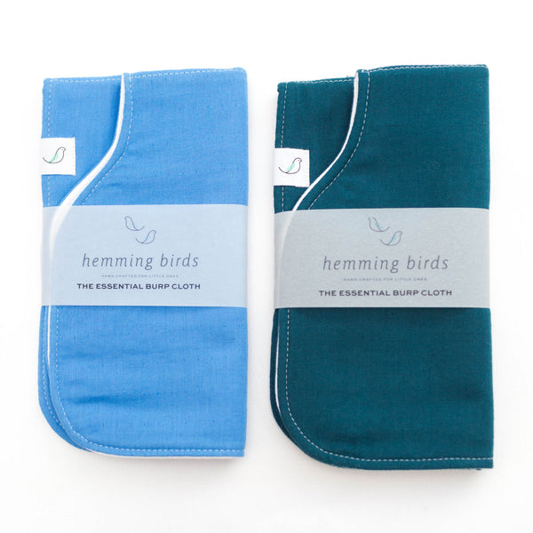 Essential Burp Cloth TWO-PACK // Sky Blue + Indigo