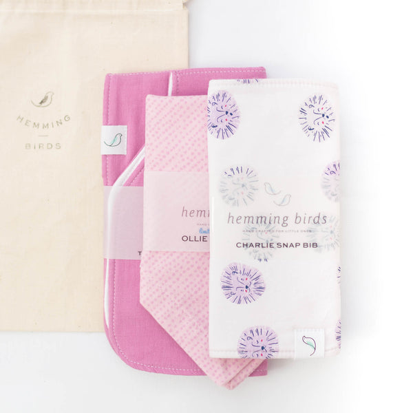 *LIMITED* GIFT SET // Rosy // Charlie Bib + Ollie Bib + Burp Cloth