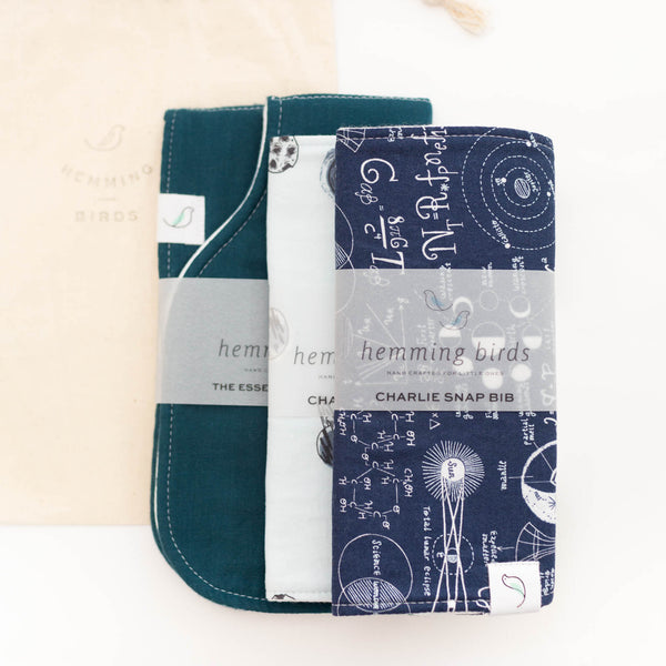 *NEW* GIFT SET // Rocket Scientist // two Charlie Bibs + one Burp Cloth