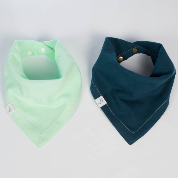 Ollie Bandana Bib Two-Pack // Honeydew + Deep Indigo